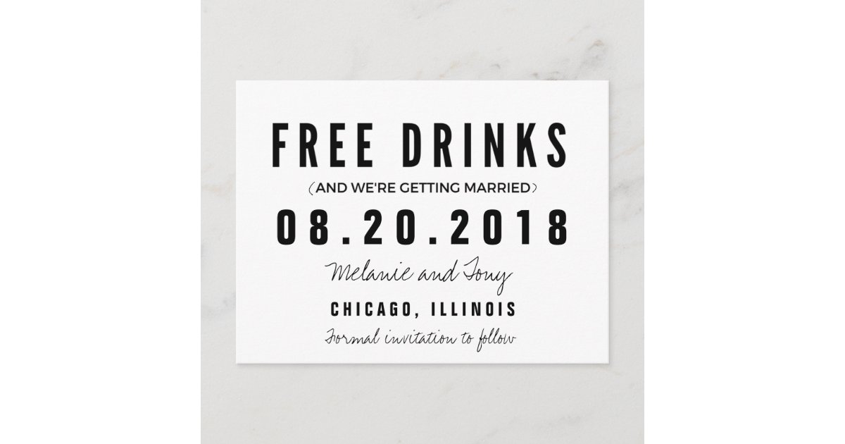 Funny Free Drinks Wedding Save The Dates Announcement Postcard Zazzle Com