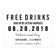 Funny Free Drinks Wedding Save The Dates Custom Postcard at Zazzle