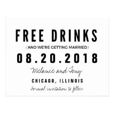 Funny Free Drinks Wedding Save The Dates Postcard at Zazzle