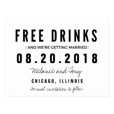 stylelily Funny Free Drinks Wedding Save the Dates Postcard