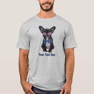 ecfd6084 Funny French Bulldog 4th of July USA Custom T-Shirt