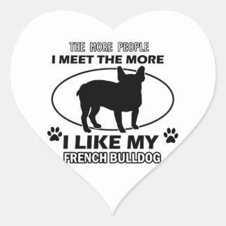 Funny french bulldog designs heart sticker