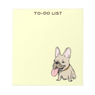 Funny French Bulldog Drawing with Custom Text Note Pad