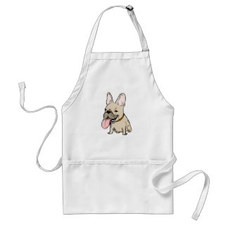 Funny French Bulldog with Huge Tongue Sticking Out Adult Apron