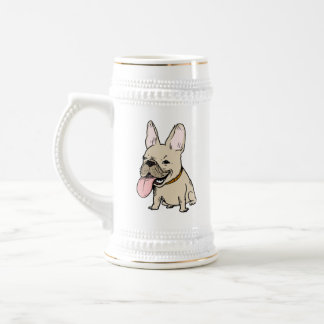 Funny French Bulldog with Huge Tongue Sticking Out Beer Stein