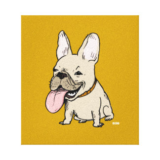 Funny French Bulldog with Huge Tongue Sticking Out Canvas Print