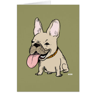 Funny French Bulldog with Huge Tongue Sticking Out Card