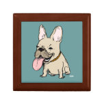 Funny French Bulldog with Huge Tongue Sticking Out Keepsake Box