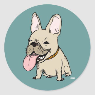 Funny French Bulldog with Huge Tongue Sticking Out Classic Round Sticker
