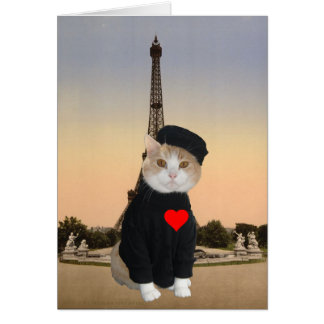 Funny French Cat/Kitty Valentine Greeting Card