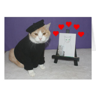 Funny French Cat Valentine Greeting Card