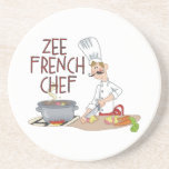 Funny French Chef Beverage Coaster