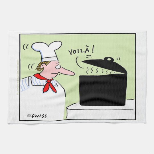 Funny French Chef Cartoon Kitchen Towel