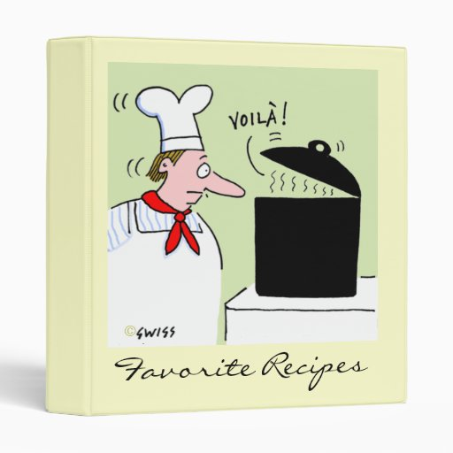Funny French Chef Cooking Cartoon Recipe Binder