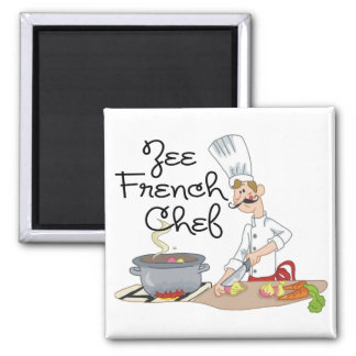 Funny French Chef Gift 2 Inch Square Magnet