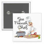 Funny French Chef Gift Pinback Button