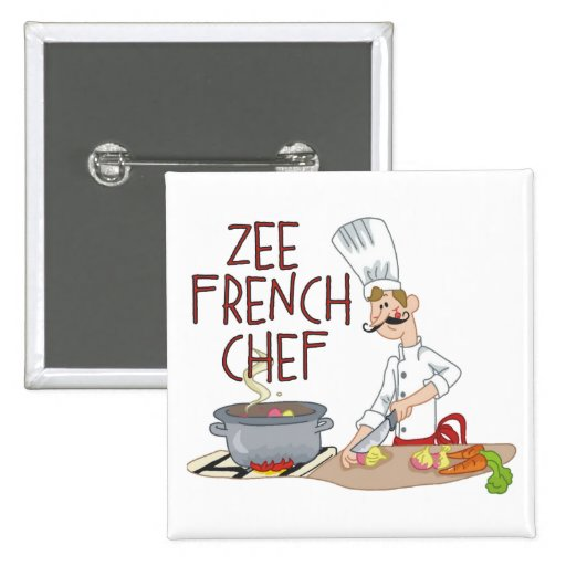 Funny French Chef Pinback Buttons