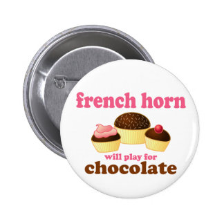 Funny French Horn Button