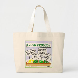 Funny Fresh Produce Cartoon Jumbo Grocery Tote
