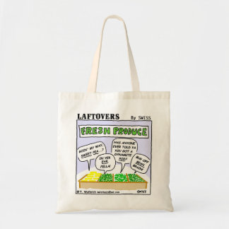 Funny Fresh Produce Laftovers Cartoon Grocery Tote Bag