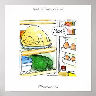 Funny Fridge Chicken Egg Family Poster Print