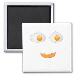 Funny Fried Egg Food Face Magnet