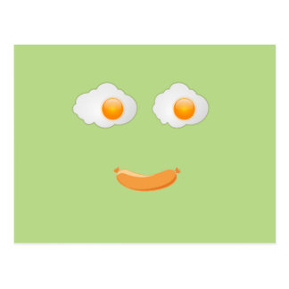 Funny Fried Egg Food Face Postcard