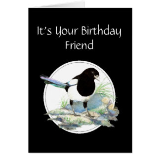 Funny, Friend Birthday, Magpie Watercolor Bird Greeting Card
