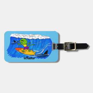 Funny frilled neck lizard surfing. bag tag
