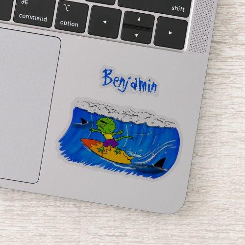 Funny frilled neck lizard surfing cartoon sticker