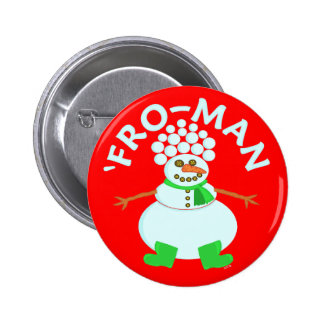 Funny 'Fro Snowman Christmas Pinback Button