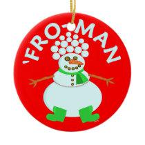 Funny 'Fro Snowman Christmas Ceramic Ornament