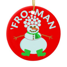 Funny 'Fro Snowman Christmas Ornament