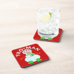 Funny 'Fro Snowman Christmas Pun Drink Coaster