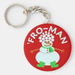 Funny 'Fro Snowman Christmas Pun Key Chain