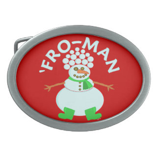 Funny 'Fro Snowman Christmas Pun Oval Belt Buckle