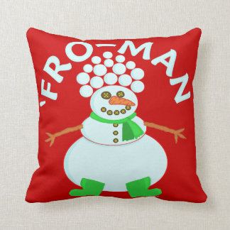 Funny 'Fro Snowman Christmas Pun Throw Pillows