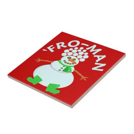 Funny 'Fro Snowman Christmas Pun Ceramic Tiles