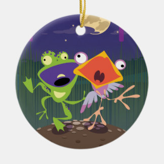 Funny Frog and Bird Double-Sided Ceramic Round Christmas Ornament
