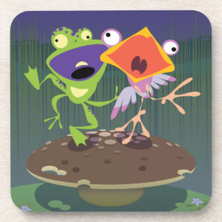 Funny Frog and Bird Drink Coaster