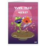 Funny Frog and Bird Greeting Card