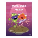 Funny Frog and Bird Postcard