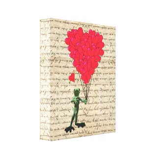 Funny frog and heart balloons canvas print