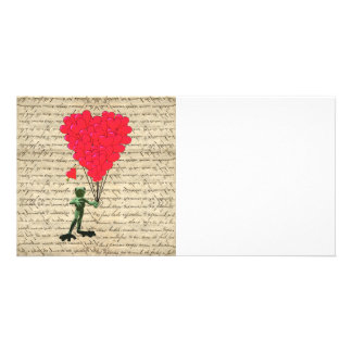 Funny frog and heart balloons card