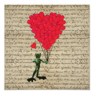 Funny frog and heart balloons poster