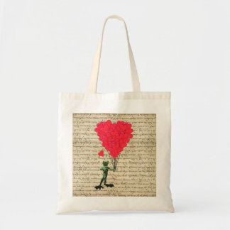 Funny frog and heart balloons tote bag