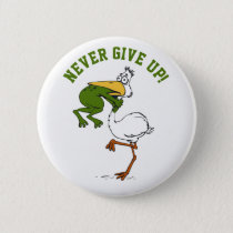 Funny Frog and Pelican Pinback Button