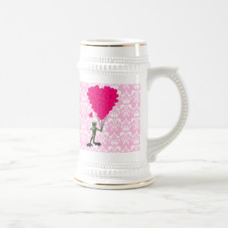 Funny frog cartoon & pink heart on damask beer stein