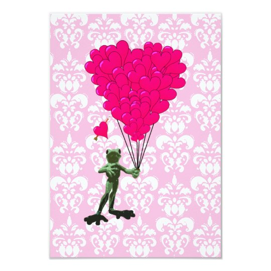Funny frog cartoon & pink heart on damask card