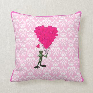 Funny frog cartoon & pink heart on damask pillow